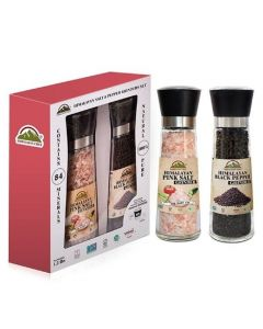 Himalayan Pink Salt & Black Pepper Grinder Set 19.2oz |Himalayan Chef