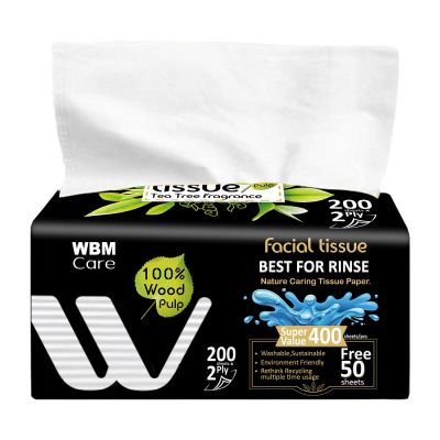 Natural Facial Tissue with Tea Tree Fragrance - 2 Ply (200 Sheets) | WBM Care